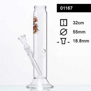 TATTOO GLASS BONG H 32CM Ø 55MM SOCKET 18.8MM